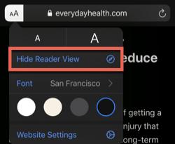 Hide reader view option